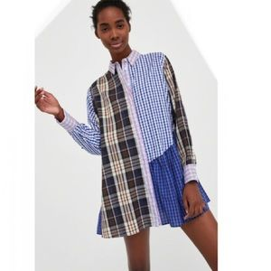 ZARA Patchwork Check Mini Dress or Tunic Size S